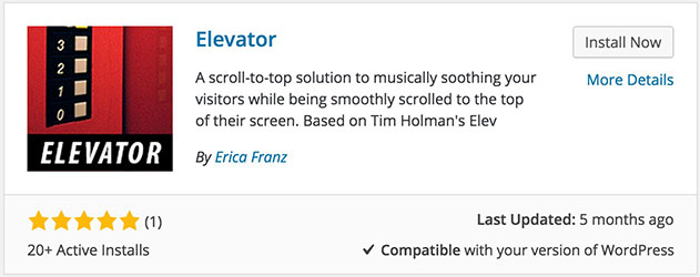 Elevator is available in the WordPress plugin repository to quickly install and manage from the WordPress admin.